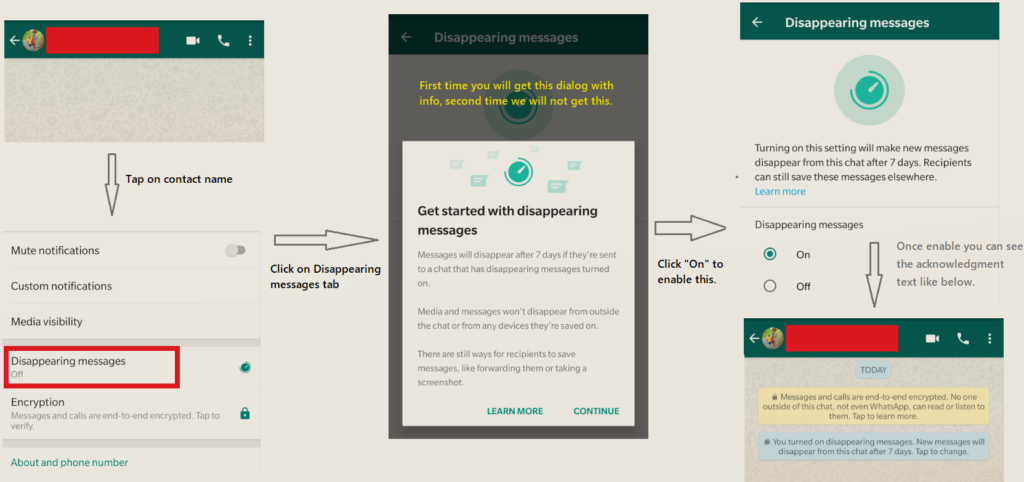 Enable the Disappearing messages feature