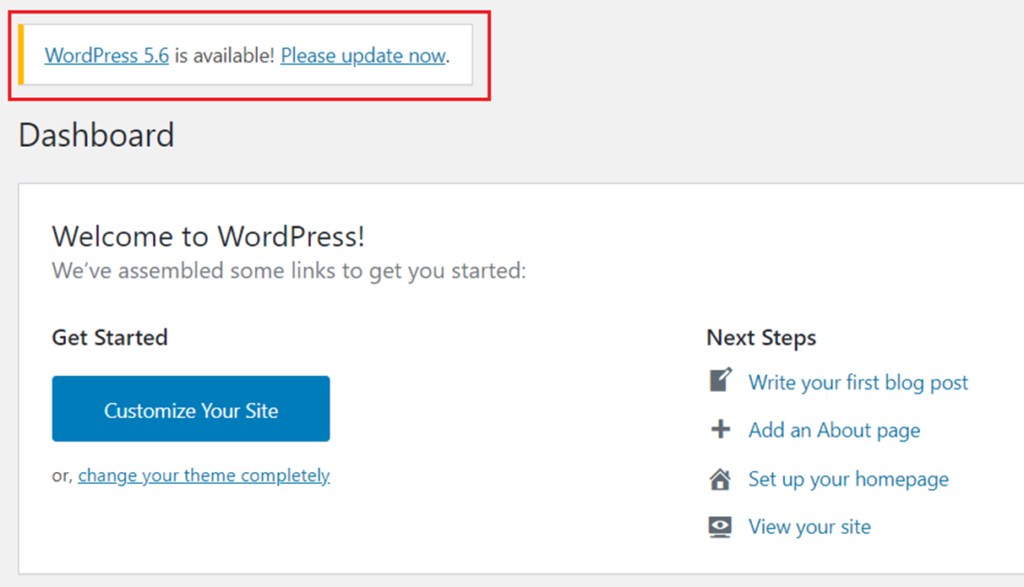 WordPress 5.6 Update is available