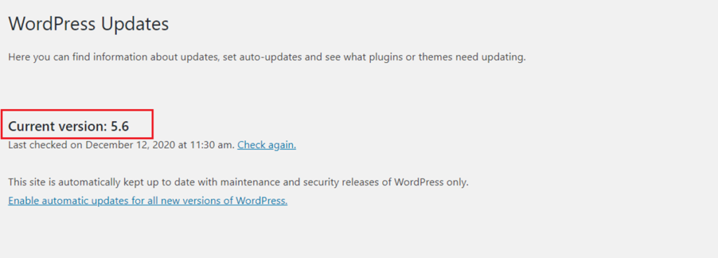 WordPress update after completed