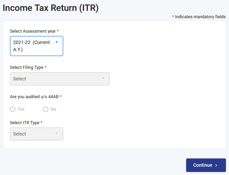 Assessment Years to file income tax return