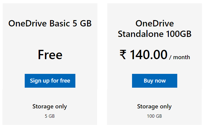 One Drive Free Plans